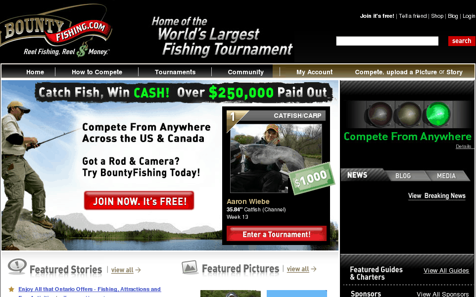 The largest online fishing tournament community for Online fishing tournament