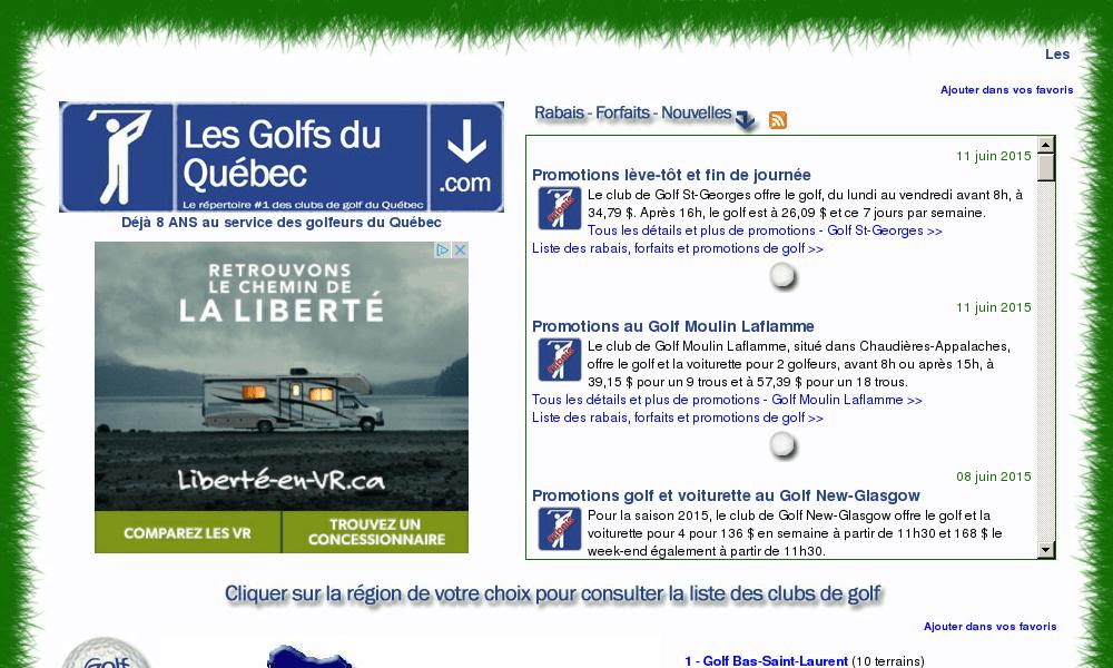 LE répertoire des terrains de golf du Québec
