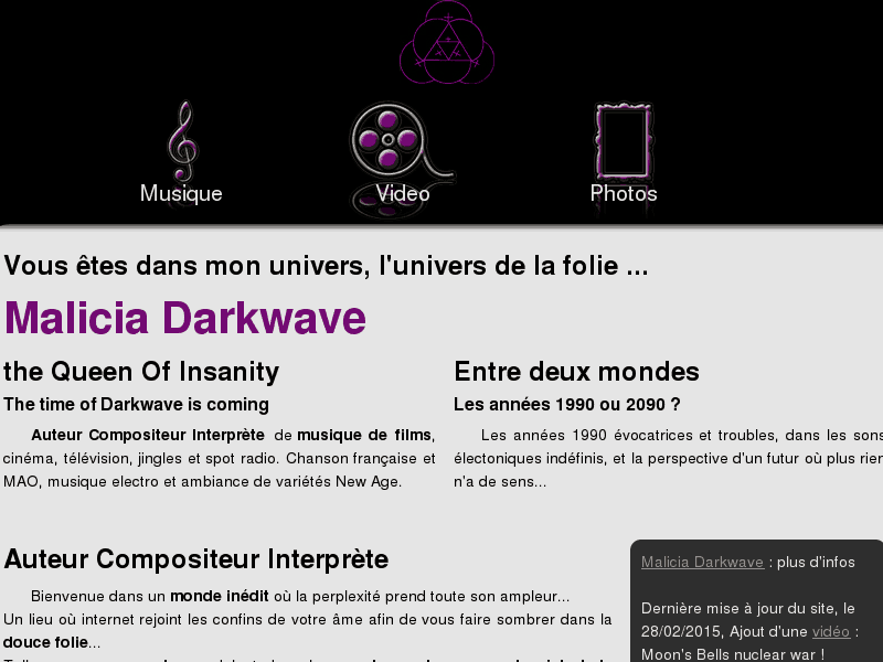 Malicia Darkwave, auteur compositeur, interprète